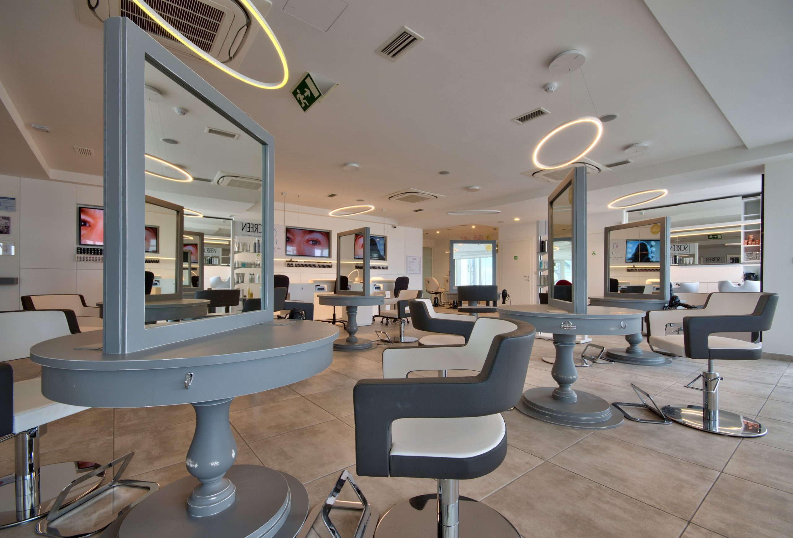 Hair Salon – hair stations, lighting, grey and white scheme