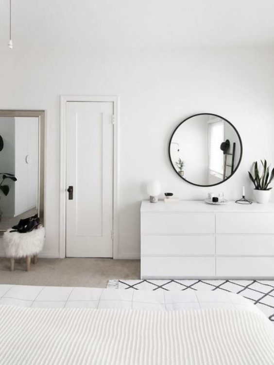 Minimalism - white walls, mirrors, plants, texture