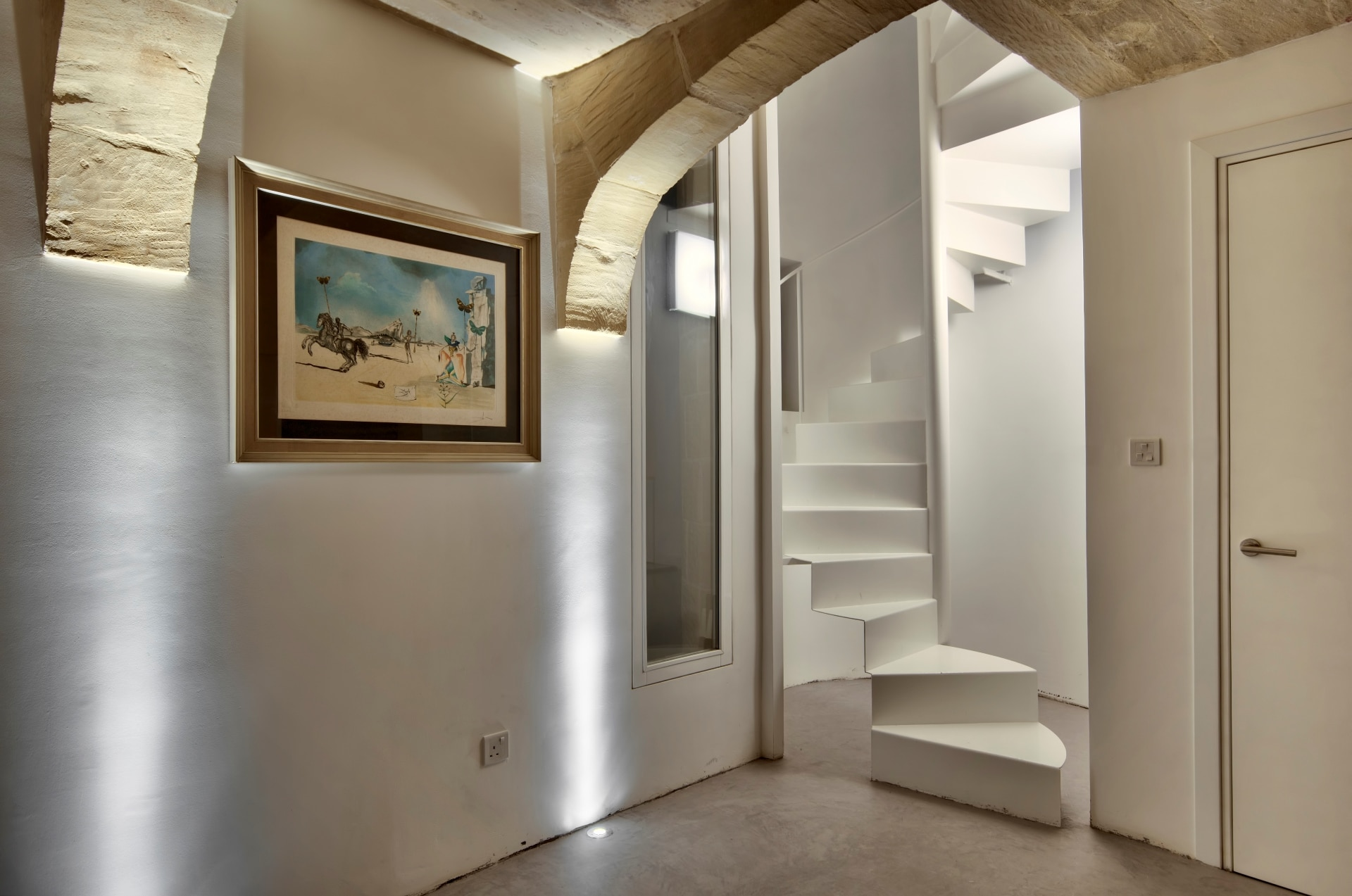 Feature – metal spiral stairs, lighting arches