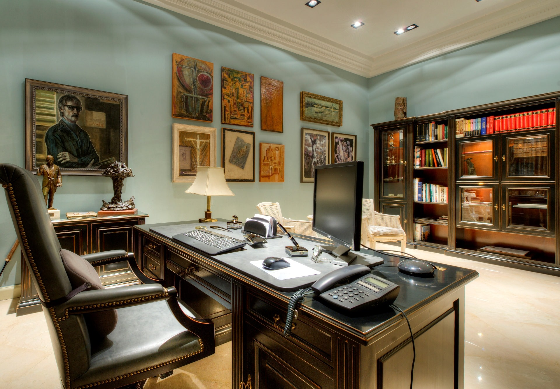 Study – art, pottery and sculpture, library, upholstery fabrics, grey and blues