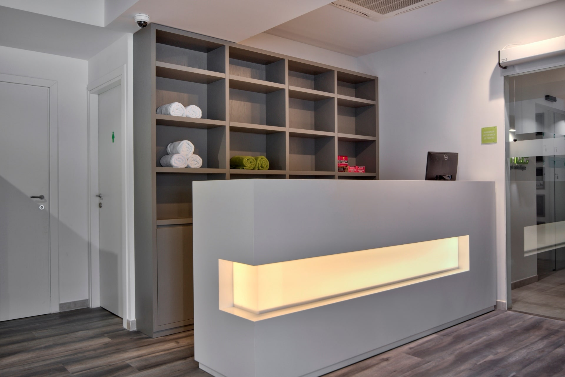 Gym – reception desk, storage, lighting