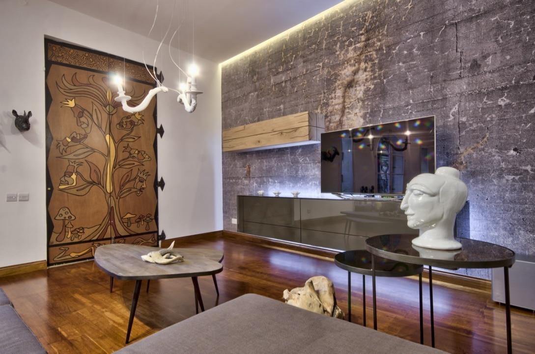 Living Room – feature wallpaper, pendant lights, accessories, wooden flooring