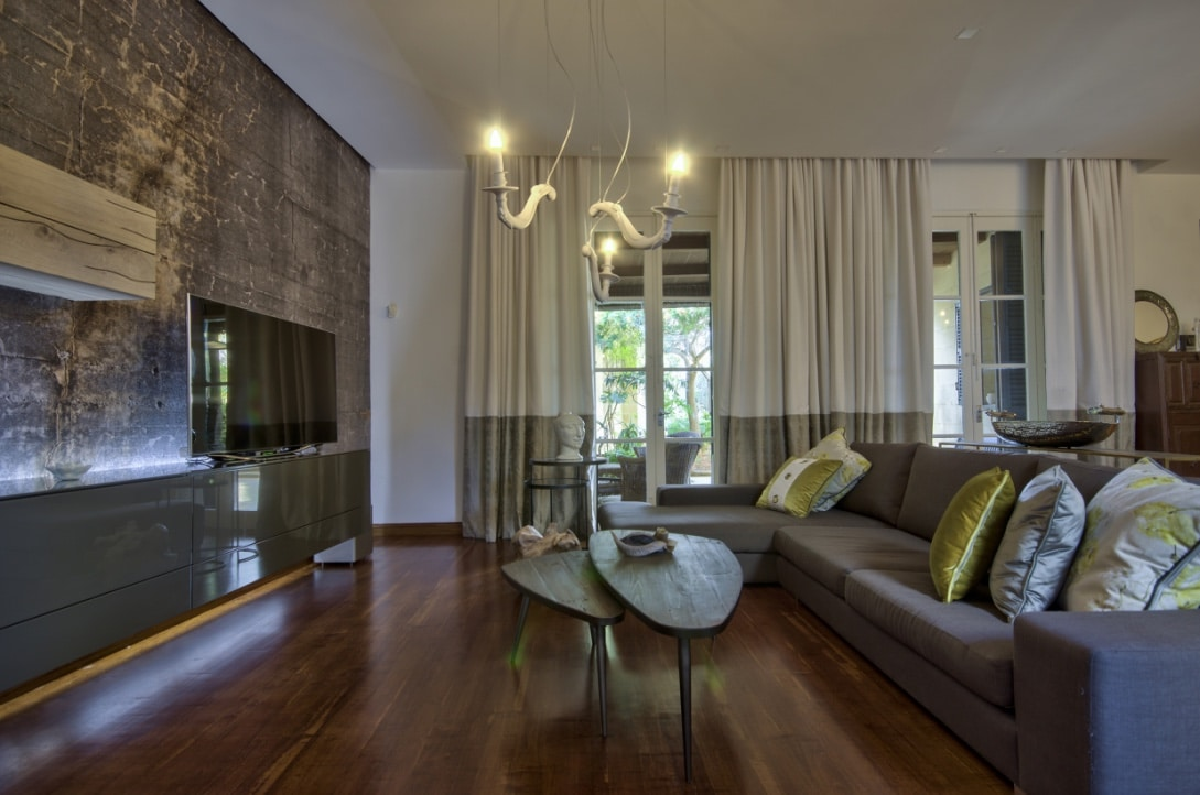 Living Room – feature wallpaper, coffee tables, sofa, curtains, pillows