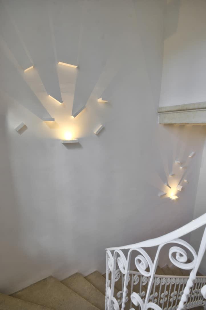 Staircase – sculptural wall light, white metal railings