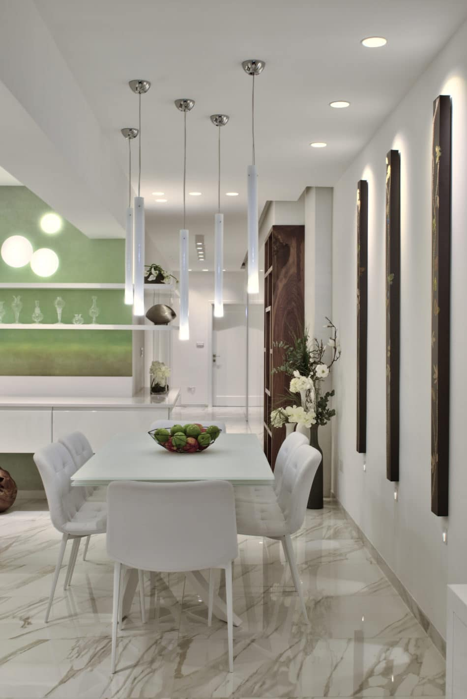 Dining Area – white, colour, wooden features, wallpaper, light fittings, pendents