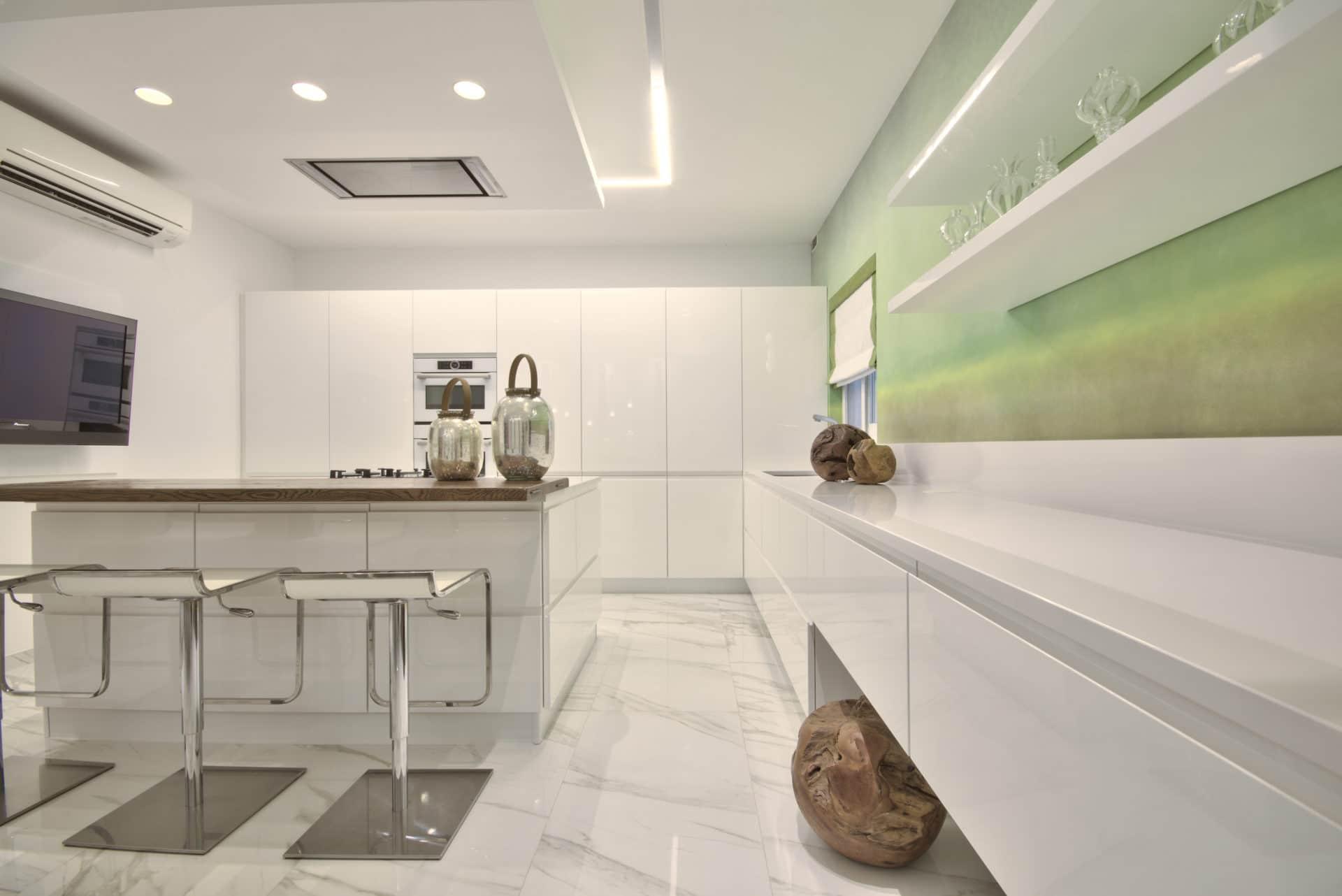Kitchen – white, wallpaper feature, wooden features, colour accents
