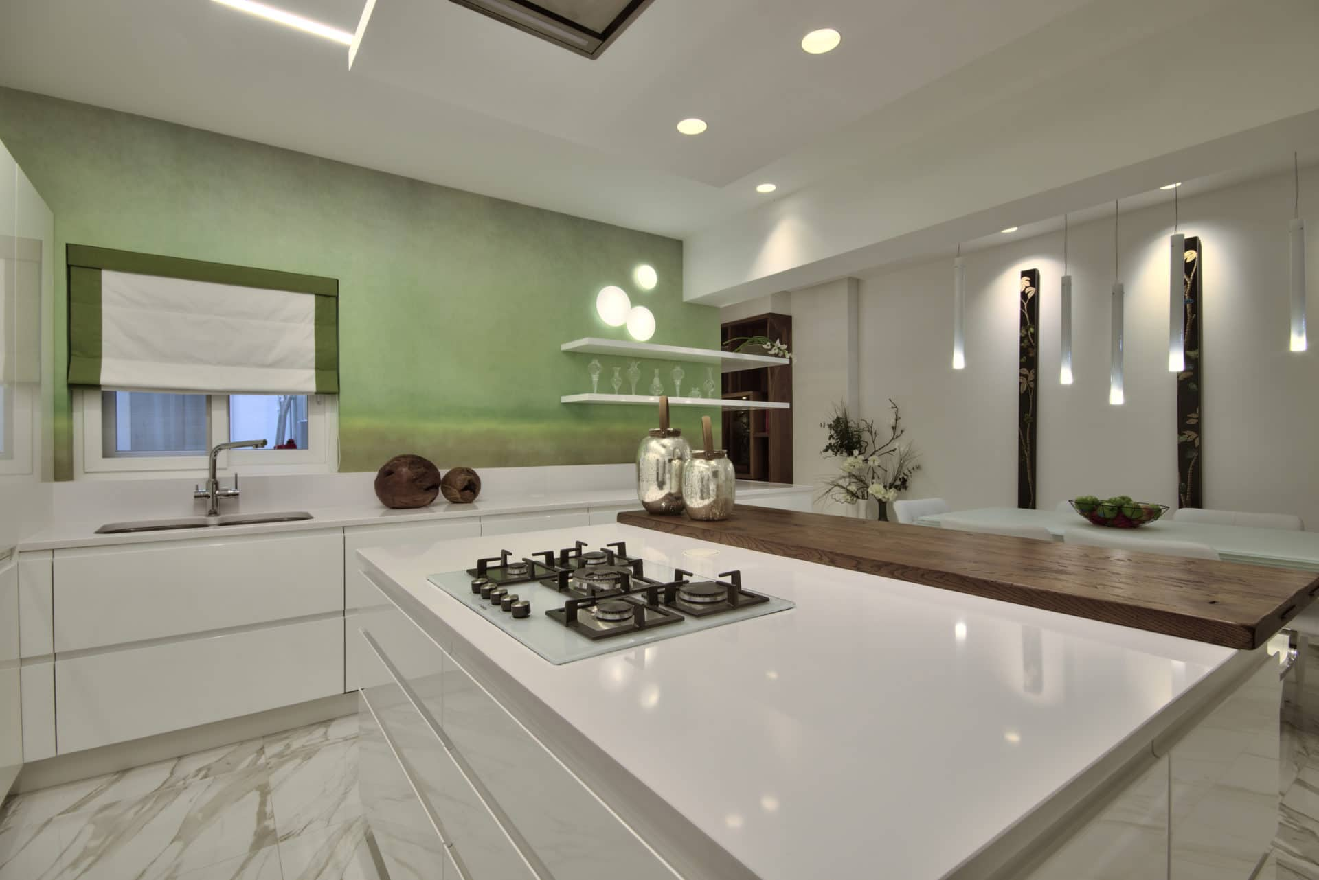 Kitchen Dining – white, wallpaper feature, green, wooden accents