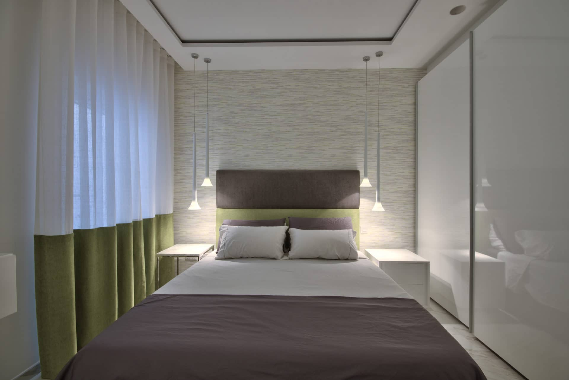 Main Bedroom – bedding, lighting, curtains, wallpaper feature