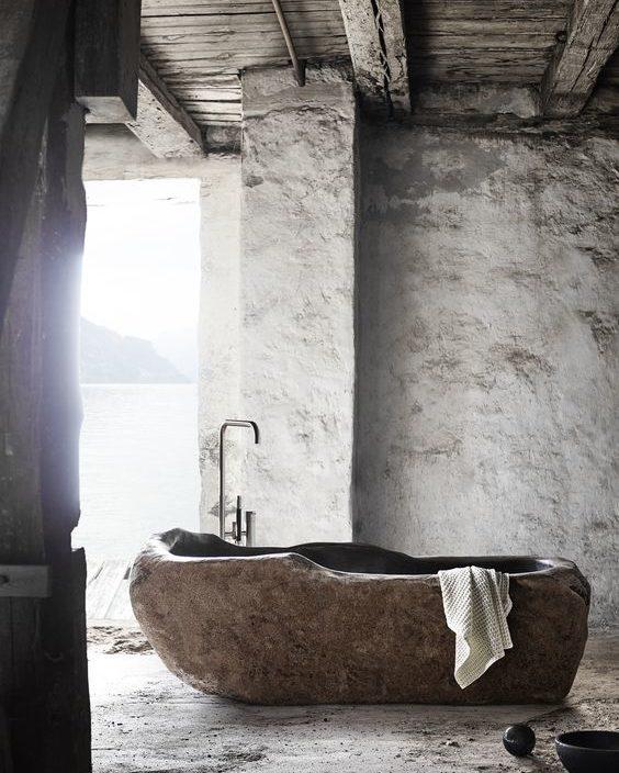 Wabi-sabi - neutral, stone, bath, simple